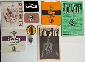 Doc Savage Brotherhood of Bronze Membership Kit - Card, Button, Bulletins, Pin