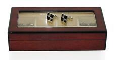 Quality Gloss Wooden Cufflink Display Box Ring Tie Clip Storage Case Organizer
