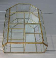 "Medium 12"" Glass & Brass Curio Display Cabinet Case. Offset shelves. Pearl Trim."