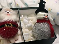 vintage christmas ornament Lot Santa Snowman Satin Ball Beaded Plastic Rare 70's