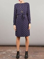 A.P.C. Rue Madame Paris Painter Dress XS Navy Polka Dot Belted Lined Long Sleeve