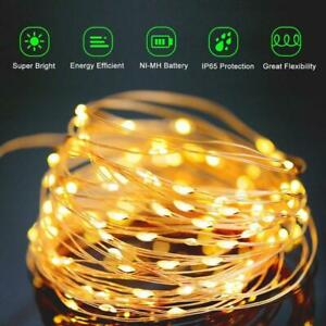 300/200/200 LED Solar String Lights Garden Outdoor Copper Wire Dec Warm White UK
