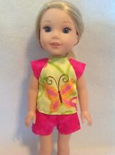 Wellie Wishers pink green butterfly shirt shorts American Girl doll clothes 14