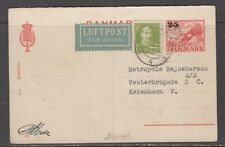 Denmark / Norway 1946. Air mail uprated P.S. reply card from Norway to Denmark.