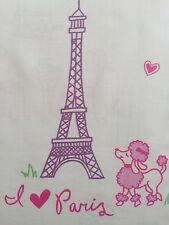 Nicole Miller I Love Paris Poodle Eiffel Tower Girls Fabric Shower Curtain -Cute