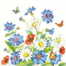 4x Paper Napkins for Party, Decoupage-Cornflower