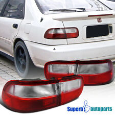 For 1992-1995 Honda Civic 2/4Dr Coupe Sedan Tail Lights Brake Lamps Red/Clear