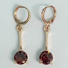 Cz Stick Set Dangle Drop Earrings Modern New Rose Gold Plated Round Red