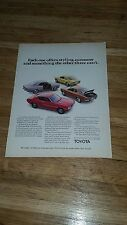 """1972  Toyota Vintage Magazine Ad """"Each one offers styling, economy and something"""