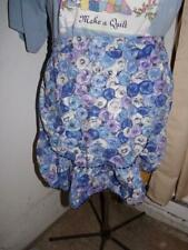 New listing Vintage Handmade Cotton Half Apron- Large Blue Floral Print w/ruffle