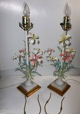 "Vintage Italian Metal Toleware Lamp TIGER LILIES Set Of 2 ITALY MARBLE Base 25"""