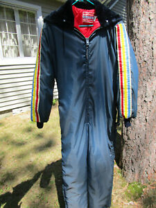 """Vtg United Pioneer Snowmobile Suit Ski Snow Made in USA Size L 40"""" Mens Hood"""