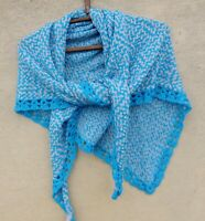 knit triangle scarf, colorful kerchief, blue triangular shawl, knitted wrap