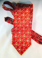 "Made in America; red, gold, brown Geometric Tie 100% Silk 4"" x 57"""