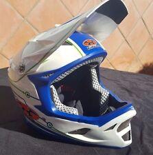 Casco descenso Kabuto IXA Composite blanco y azul, talla M/L, Downhill Helmet