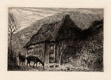 """Original 1800s HAMERTON Etching """"Thatched Roof Cottage & Deer"""" SIGNED Framed COA"""
