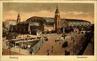 HAMBURG ~1900/10 Strassen Partie Hauptbahnhof Bahnhof Tram Straßenbahn Station
