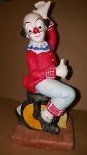 Vintage Porcelain Clown on Unicycle Made in Taiwan