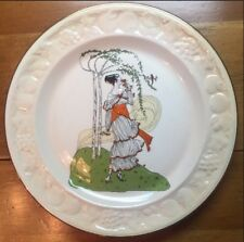A Royal Worcester Company Palissy England Embossed Raised Lady Portrait Plate