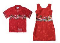 Hawaii Hangover Couple Matching Outfit Shirt and Tank Dress in Santa Cross Red