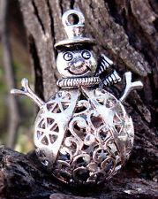 HUGE Snowman HOLLOW BEAD Christmas Stocking Stuffer Silver Pendant Jewelry Charm