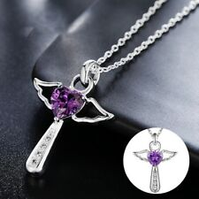925 Silber Glücksbringer Schutzengel Kreuz Anhänger Flügel Herz Kristall Strass