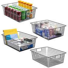 2/4 Pack Premium Metal Wire Bin Organizer Closet Shelf Storage Basket w/ Handles