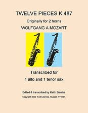Alto and Tenor Sax Duets Mozart K.487 org. for 2 horns Comb Bound Brand New