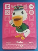 206 Pete SP Animal Crossing Amiibo Card Single - Series 3 Near Mint US Version