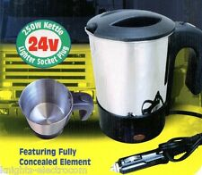 24V STAINLESS STEEL JUG CAB KETTLE for TRUCK / LORRY with CIG cigar plug