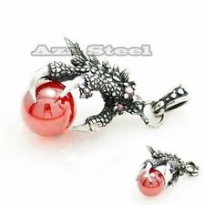 Men's Dragon Claw Red Cubic Zirconia Stainless Steel Pendant w/ Chain Necklace