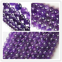 "Wholesale Natural Amethyst Round Ball Loose Beads 15.5"" 4mm,6mm,8mm,10mm,12mm"
