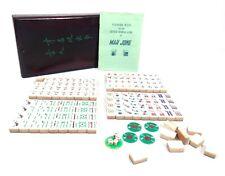 Antique Bone & Bamboo Mahjong / Mah Jong Game / Set in Wooden Box / Complete