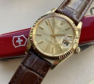 Rolex 1500 Oyster Perpetual Date 18K Solid Gold Automatic vintage Men 1970 watch