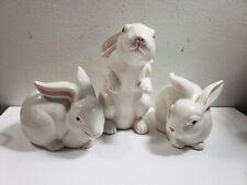 Fitz and Floyd Rabbit Figurine Trio 1983 3 Rabbits
