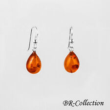 Sterling Silver Earrings with Natural Baltic Amber Gemstones
