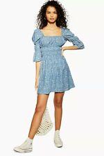 New Arrival TopShop Shirred Floral Print Denim Dress Last  Size 8