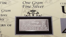 Merry Christmas 2017 Acb 1 Gram Bar 999 Fine Silver w/ Certificate Great Gift! <