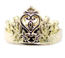 Vintage retro style antique gold coloured crown ring, UK Size P