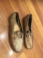 Geox Women's Leather Flats Shoes Size 39 Gold Good Condition Us Brand