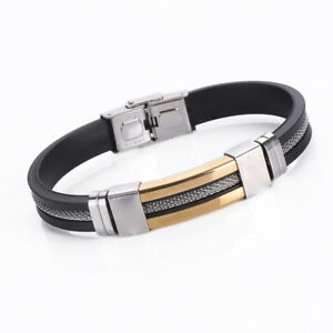 Mens Women Stainless Steel Black Rubber Bracelet Bangle Wristband Cuff Jewelry