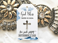 10 White Gift Tags Religious Cross Christening Personalised God Bless Bomboniere