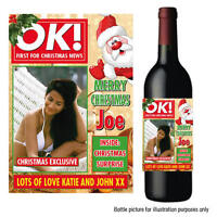 PERSONALISED OK WINE PROSECCO NOVELTY PHOTO BOTTLE LABEL STICKER CHRISTMAS 049