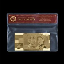 WR Old Great Britain £1 One Pound Note 24K Gold Foil Rare English Banknote + COA