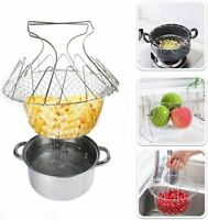 Stainless Steel Frying Cooking Basket Multifunction Folding Mesh Net Strainer UK