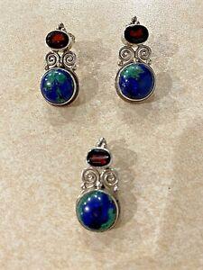 Beautiful Sajen matching pendant and earrings, sterling silver, jasper, garnet
