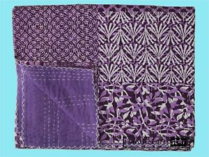 Cotton Kantha Quilts Bedspread King Size Home Decorative Coverlets Purple Color