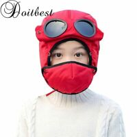 Doitbest child hat Winter fur boy bomber hats Windproof Thick warm girls snow