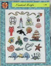 Nautical Motifs cross stitch patterns mermaid fish shells lobster lighthouse