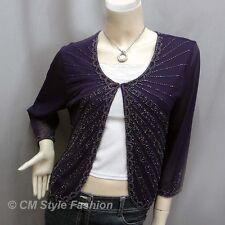 Chic Beaded Embroidered Evening Bolero Shrug Top Purple S~M
